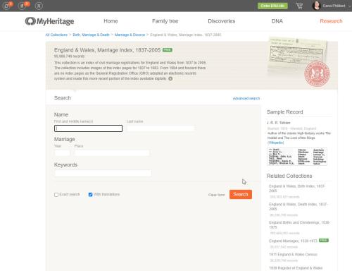 MyHeritage England & Wales