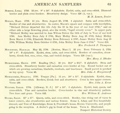 American Samplers page example