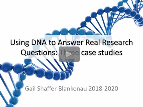 Using DNA to Answer Real Research Questions: Three Case Studies - free webinar by Gail Blankenau now online for limited time