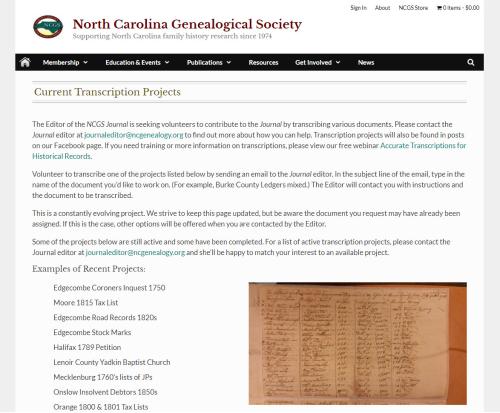 NC Genealogy Transcription