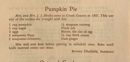 Wyoming pumpking pie