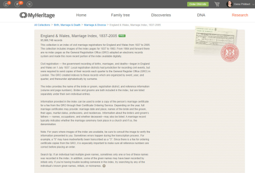 MyHeritage England and Wales Description