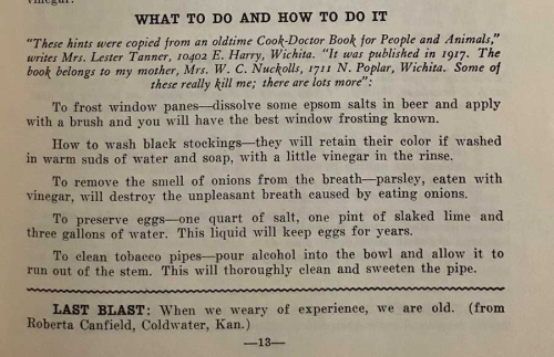 Kansas cookbook what to do and how to do it