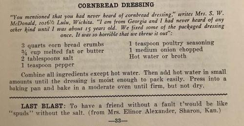 Kansas cookbook cornbread dressing